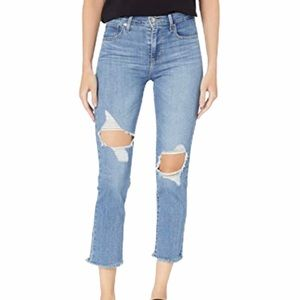 Levi's 724 High Rise Straight Crop Distressed Jean